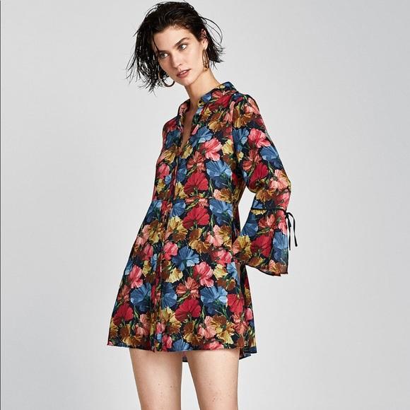 58484a27 Zara Shorts | Nwt Floral Jumpsuit Dress Size Small | Poshmark